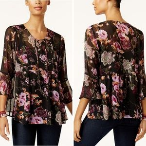 💐NWT Style Co Sheer Floral Top